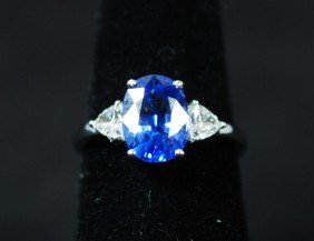 18K WHITE GOLD 3.10CT BLUE SAPPHIRE RING