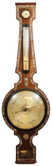 VICTORIAN ROSEWOOD BAROMETER W/ INLAID M.O.P.