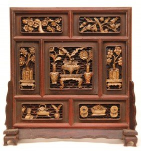 19th C RELIEF CARVED CHINESE WOOD TABLE SCREEN