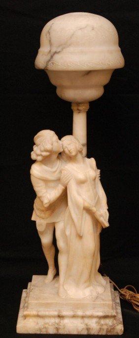 NOUVEAU ALABASTER LAMP OF ROMEO & JULIET