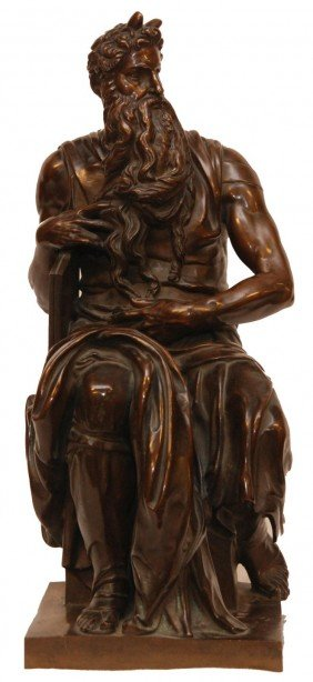 BARBEDIENNE BRONZE OF MOSES AFTER MICHAELANGELO