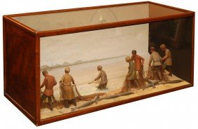 CUSTOM GERMAN CARVED WOOD DIORAMA OF BELUGA CATCH