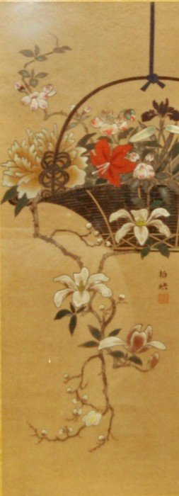 CHINESE OIL PAINTING ON SILK DEPICTING DOGWOOD