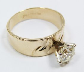 14K YG RING MOUNT WITH .97CT DIAMOND WITH CERT