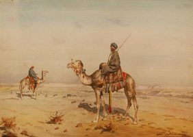 RICHARD ZOMMER WATERCOLOR OF BEDOUINS