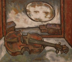 OSCAR RABINE OIL ON CANVAS OF VIOLIN