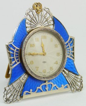 RUSSIAN SILVER GUILLOCHE CLOCK W SWISS MOVEMENT