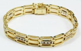 14K YELLOW GOLD MEN'S DIAMOND BRACELET