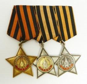 3 SOVIET ARMY MEDALS FROM MSGT. TARANENKO