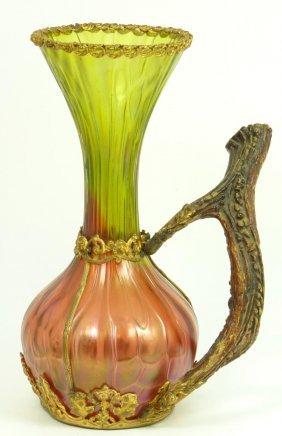 LOETZ AURENE ART GLASS VASE W STAG ANTLER HANDLE