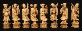 CHINESE HAND CARVED IVORY 8 IMMORTALS FIGURES