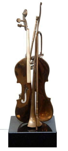 ARMAN FRENCH BRONZE SCULPTURE VIOLIN & TRUMPET