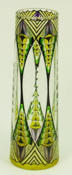 STRAUS AMERICAN CUT GLASS ETCHED VASE