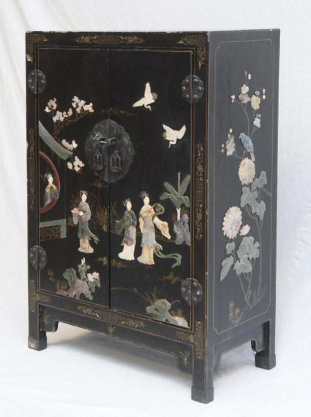 Old Chinese Black Lacquer Stone Inlaid Cabinet Lot 251
