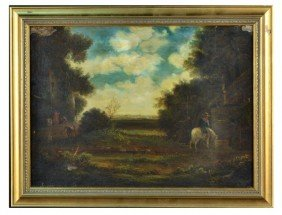 Continental School (19th C.) Ranchers In Landscape