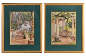 Mary Peixotto (Am., 1869-1956) Pair Of Watercolors
