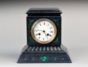 French Black Belgian Marble Table Clock