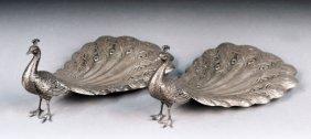 Pair Of Gorham Sterling Silver Peacocks