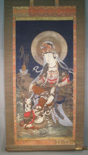 "17TH/18TH CENTURY QUAN YIN SCROLL Size: 38 1/2""x84"""