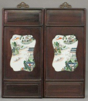 PAIR OF CHINESE PAINTINGS ON PORCELAINS Overall: 25