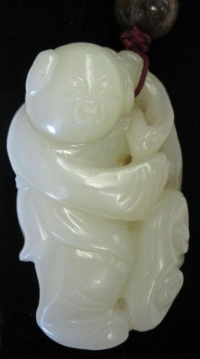 CHINESE CARVED JADE BUDDHA Length: 2 5/8""