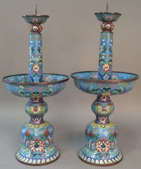 PAIR OF CHINESE CLOISONNE CANDLE STANDS Height: 20