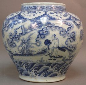 CHINESE BLUE AND WHITE STORAGE VESSEL Height: 14 1