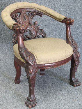 VICTORIAN CARVED MAHOGANY ARM CHAIR With Dolphins H