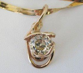 OLD EUROPEAN 3.29 CT. DIAMOND PENDANT Set In 14kt B