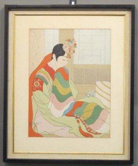 """PAUL JACOULET (1902-1960) Woodblock Sight: 11 3/8""""x"""