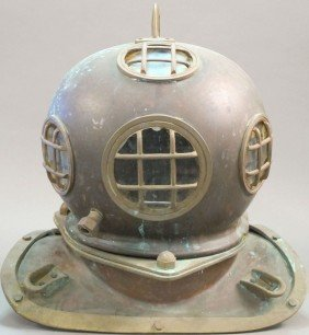 VINTAGE DIVING HELMET With Copper And Brass Height
