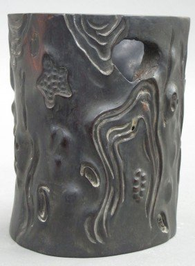 """CARVED WOOD BRUSH POT Height- 7"""""""