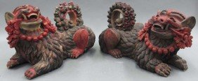 PAIR OF CHINESE CARVED WOOD LIONS Length- 20""