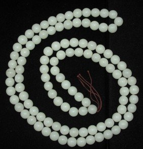 CHINESE WHITE JADE NECKLACE Length- 54""