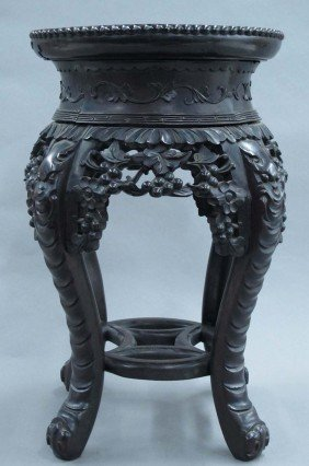 CHINESE CARVED ROSEWOOD PLAND STAND With Marble