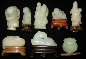 "LOT OF (8) WHITE JADE CARVINGS Heights- 1"" - 2"""