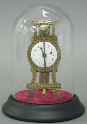 CONTINENTAL EASEL FORM CLOCK With Glass Dome Ci