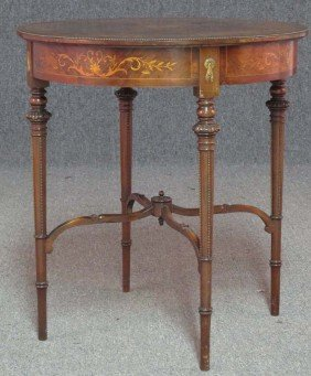 ROSEWOOD AND MAHOGANY MARQUETRY CENTER TABLE He
