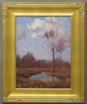 SIGNED M. BRAUN OIL ON CANVAS LANDSCAPE Sight-