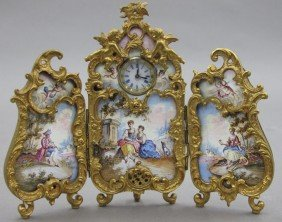 FRENCH THREE PART ENAMELED MINIATURE SCREEN Wit