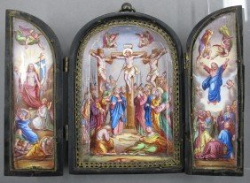 EARLY LIMOGES THREE PART ENAMELED DEPICTION OF