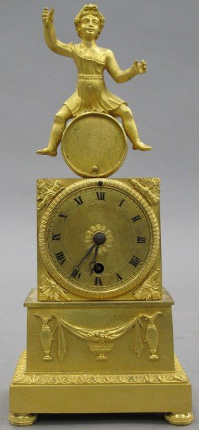 FRENCH EMPIRE GILT BRONZE FIGURAL CLOCK Circa E