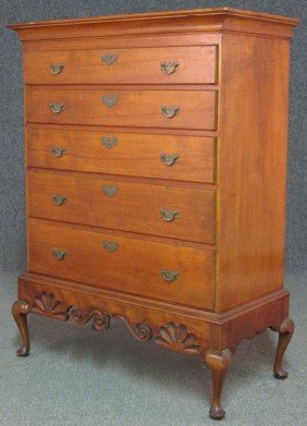 EARLY AMERICAN CHERRY DRESSER ON STAND Width- 3