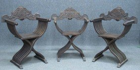 LOT OF (3) CONTINENTAL FOLD UP CHAIRS Early 20t