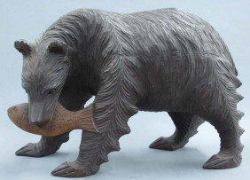 BLACK FOREST CARVED BEAR Length- 20""