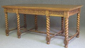 EARLY 20TH CENTURY CARVED MAHOGANY CENTER TABLE