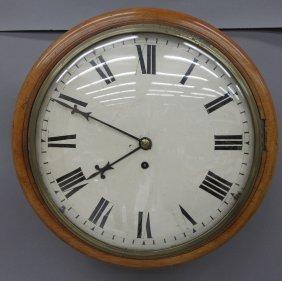 ENGLISH MAHOGANY FUSEE WALL CLOCK Diameter- 14 3/