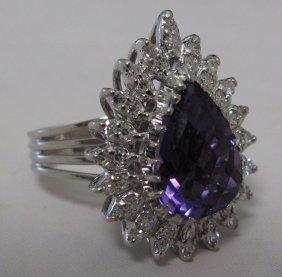 14KT AMETHYST DIAMOND RING