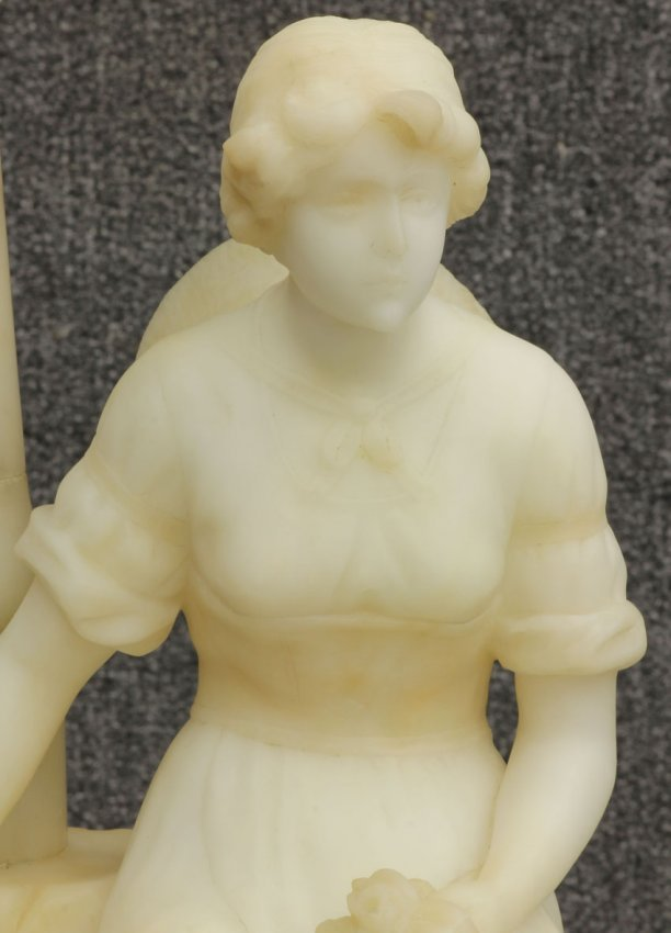 7968 Art Nouveau Carved Alabaster Statue Lamp With Ass