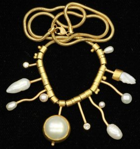 VINTAGE 14KT NECKLACE With Pearls
